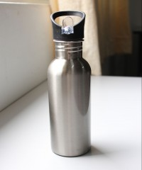 Silver Flask With Straw